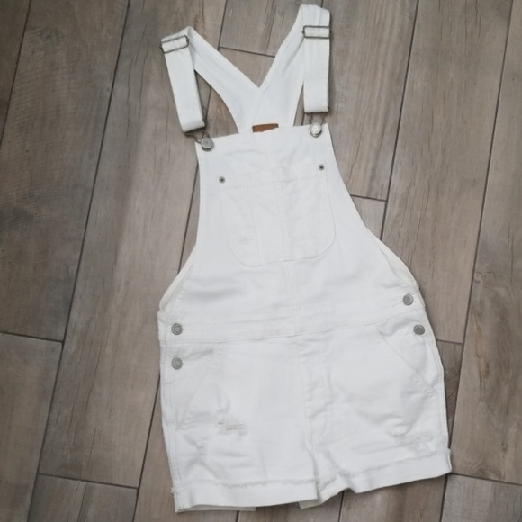 Denim - American Eagle White distressed shortalls